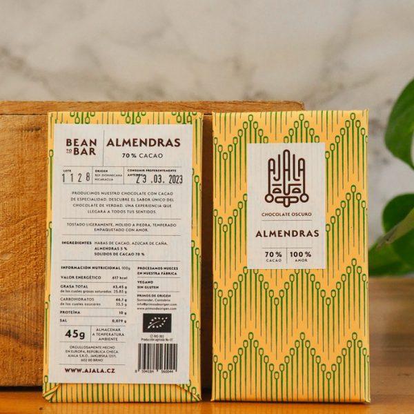 Chocolate Ajala Almendras 70% Ingredientes