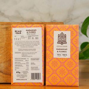 Chocolate Ajala Naranja y Flores 70% Ingredientes