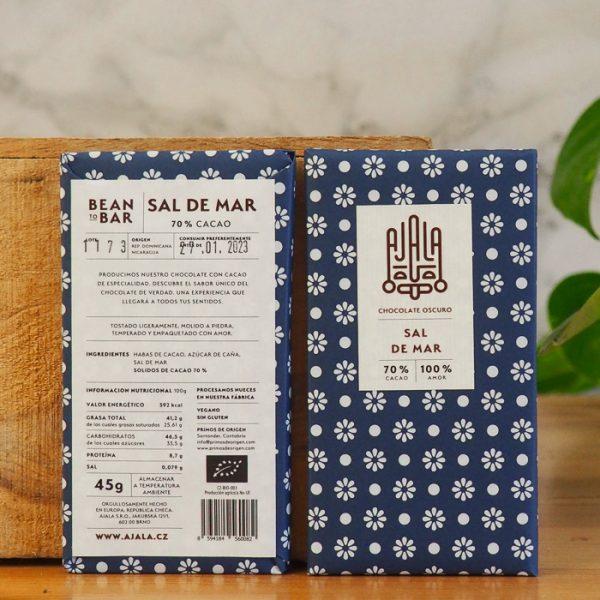 Chocolate Ajala Sal de Mar 70% Ingredientes